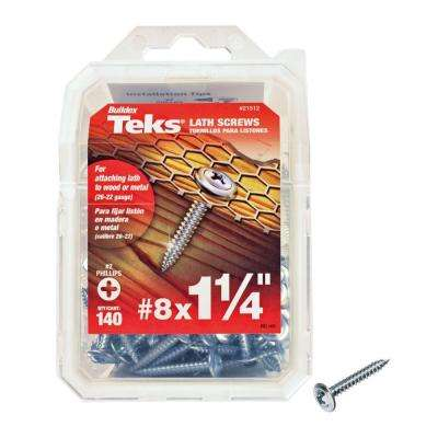 #8 x 1-1/4 in. Phillips Fine Zinc-Plated Steel Truss-Head Sharp Point Lath Screws (140-Pack)