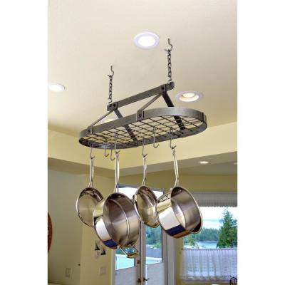 Handcrafted Classic Oval Ceiling Pot Rack with 12 Hooks Hammered Steel