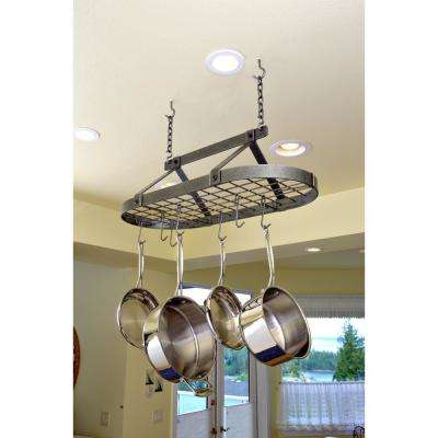 Decor Classic Oval-Shaped Ceiling Pot Rack in Hammered Steel