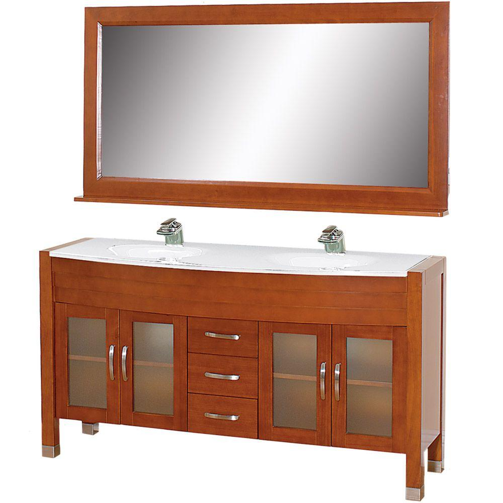 Wyndham Collection Daytona 63 in. Vanity in Cherry with Double Basin Stone Vanity Top in White and Mirror