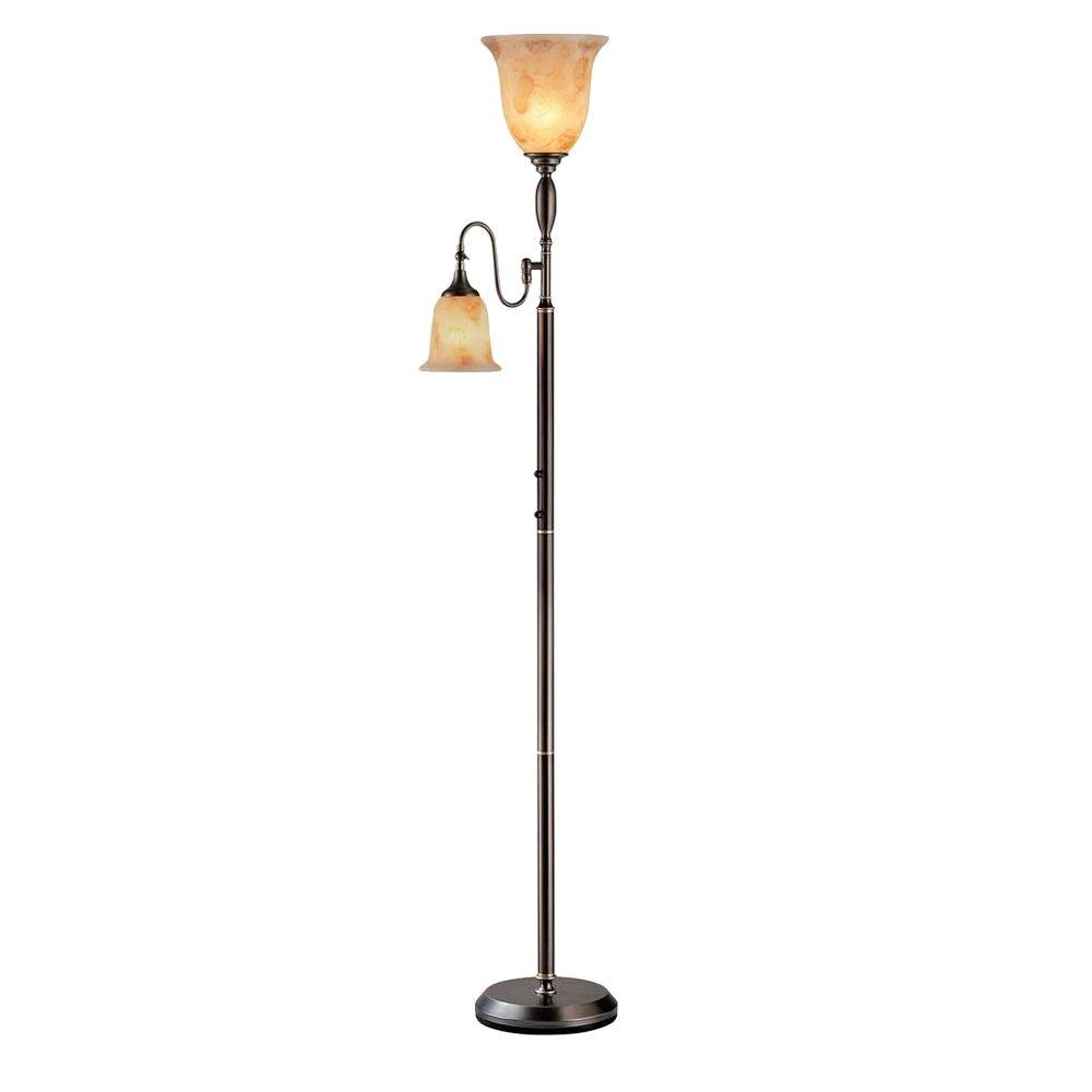 Illumine 2-Light Floor Lamp Amber Glass Dark Bronze Finish