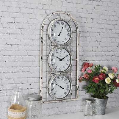 Distressed White Window Station Wall Clock