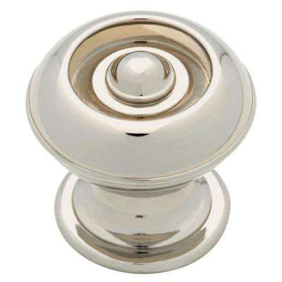 Button 1-3/16 in. (30mm) Polished Nickel Round Cabinet Knob (24-Pack)