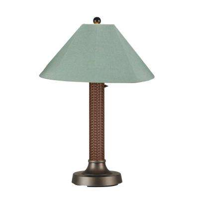 Bahama Weave 34 in. Red Castagno Outdoor Table Lamp with Spa Shade