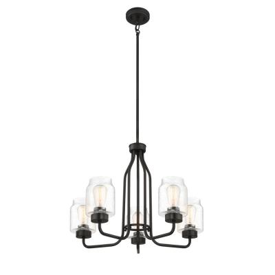 5-Light Coal Chandelier with Clear Seeded Glass Shades