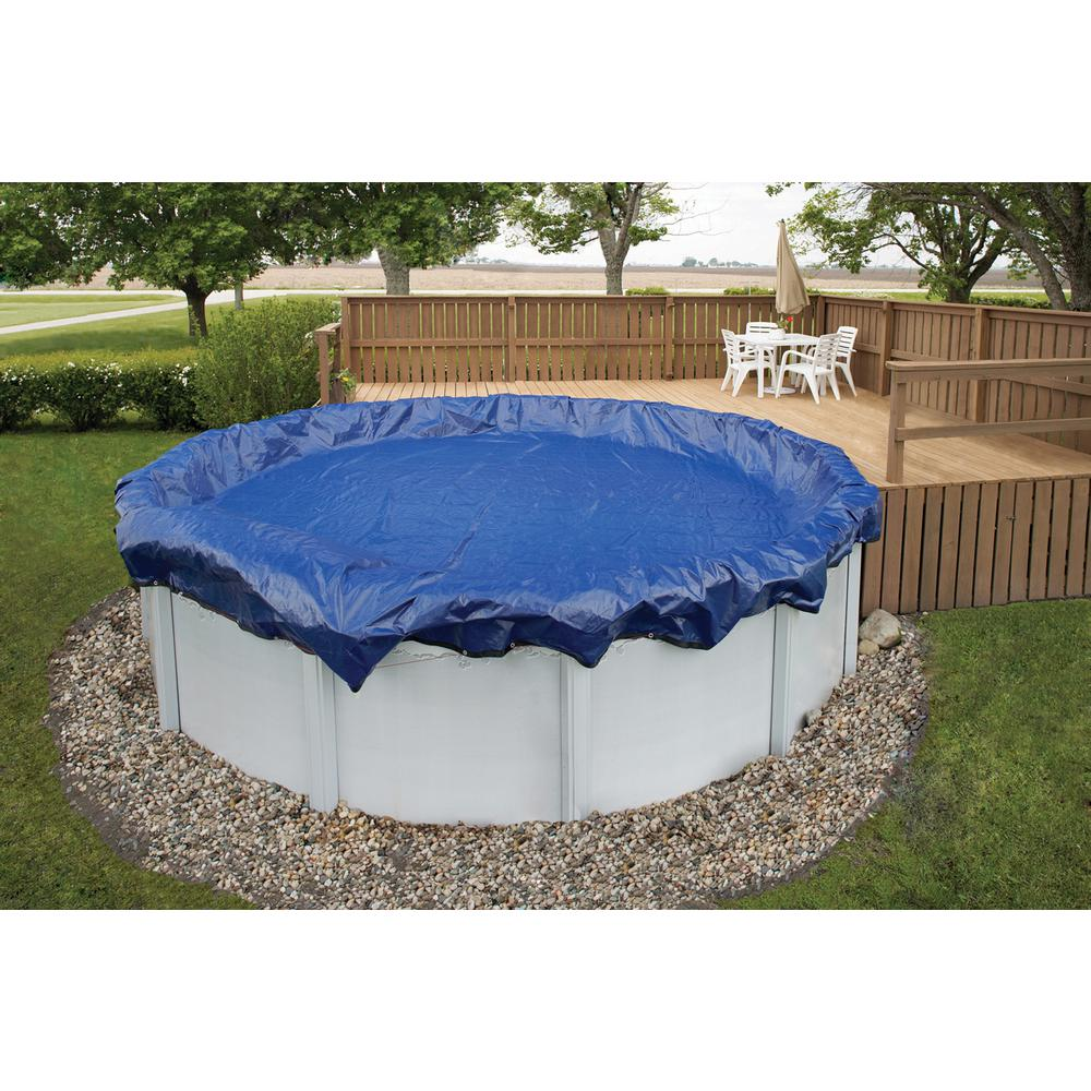 Blue wave 15 year 21 ft round royal blue above ground for Above ground pool winter cover ideas