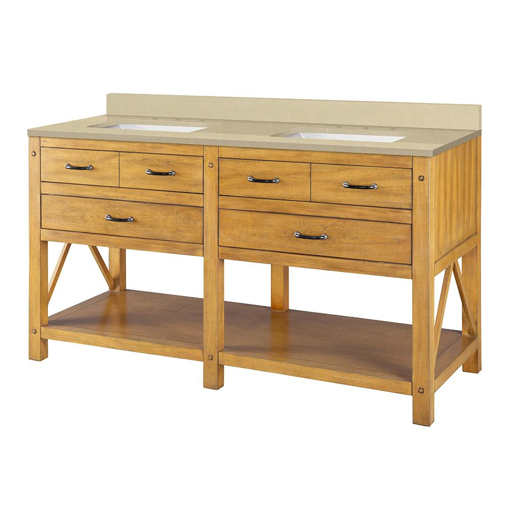 Home Decorators Collection Avondale 61 in. W x 22 in. D Vanity in Weathered Pine with Engineered Marble Top in Crema Limestone with White Sink was $1499.0 now $899.4 (40.0% off)
