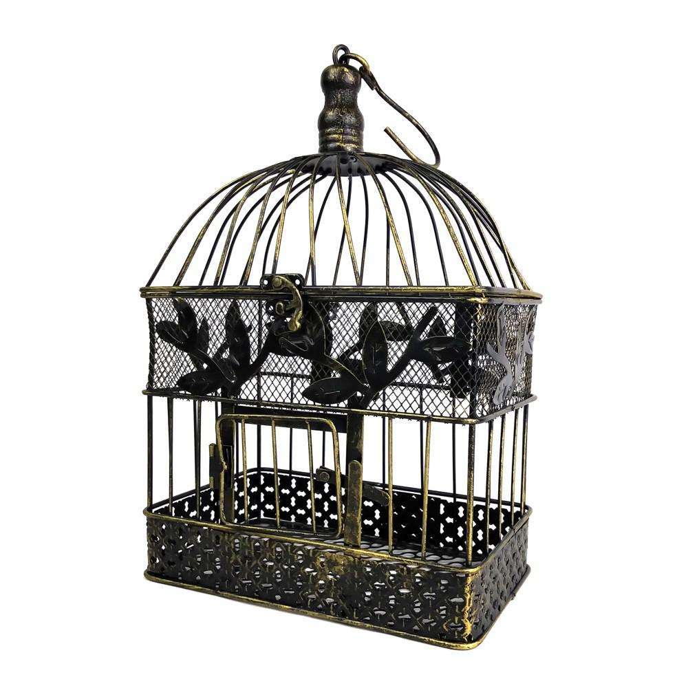 Decorative Metal Bird Cage.13 In Small Bronze Steel Decorative Bird Cage