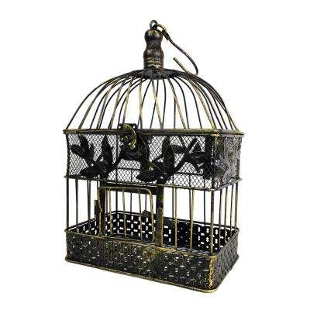 13 in. Small Bronze Steel Decorative Bird Cage