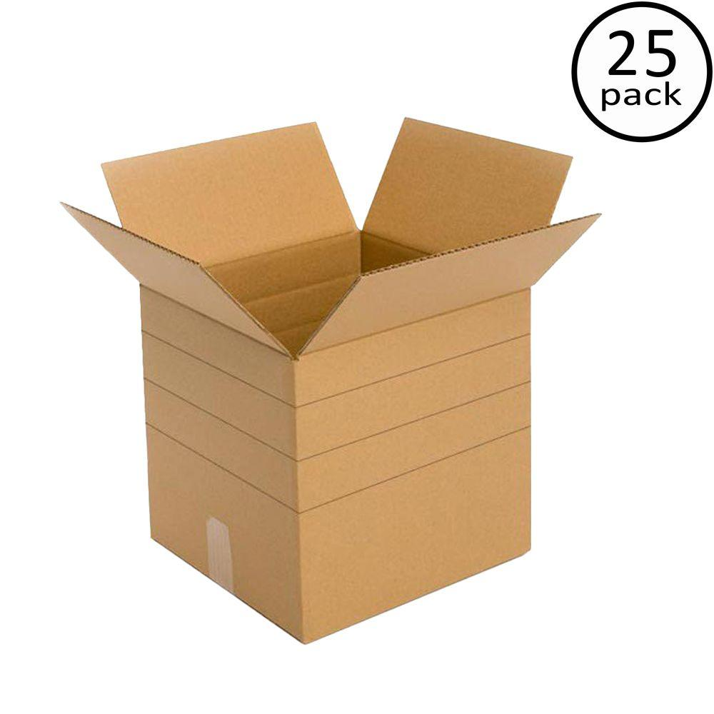 Plain Brown Box 10 in. x 10 in. x 10 in. Multi-depth 25 Moving Box Bundle