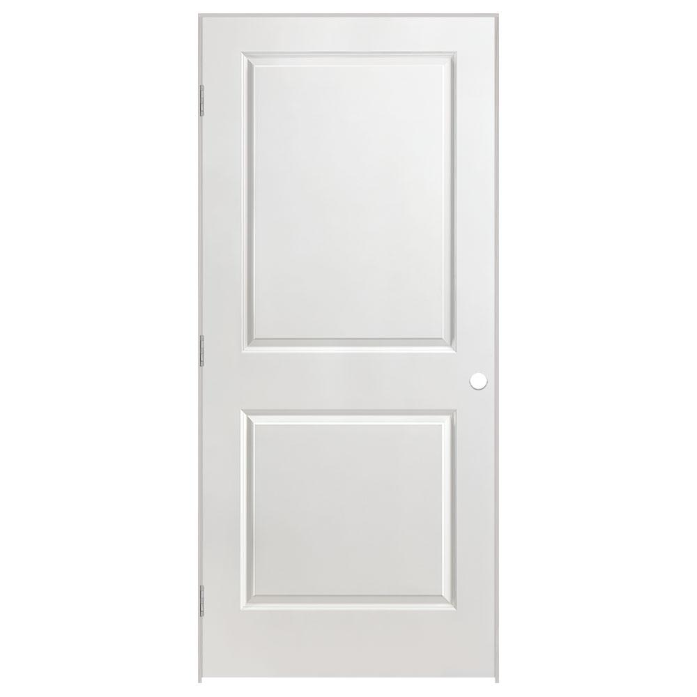 Masonite 36 in. x 80 in. Solidoor 2-Panel Square Top Right-Handed Solid-Core Smooth Primed Composite Single Prehung Interior Door