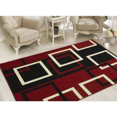 Clifton Collection Modern Boxes Design Dark Red 8 ft. x 10 ft. Area Rug