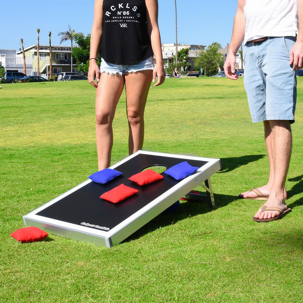 Astonishing Gofloats 3 Ft X2 Ft Tailgate Size Cornhole Bean Bag Toss Boards Game Set Portable Aluminum Frame Unemploymentrelief Wooden Chair Designs For Living Room Unemploymentrelieforg