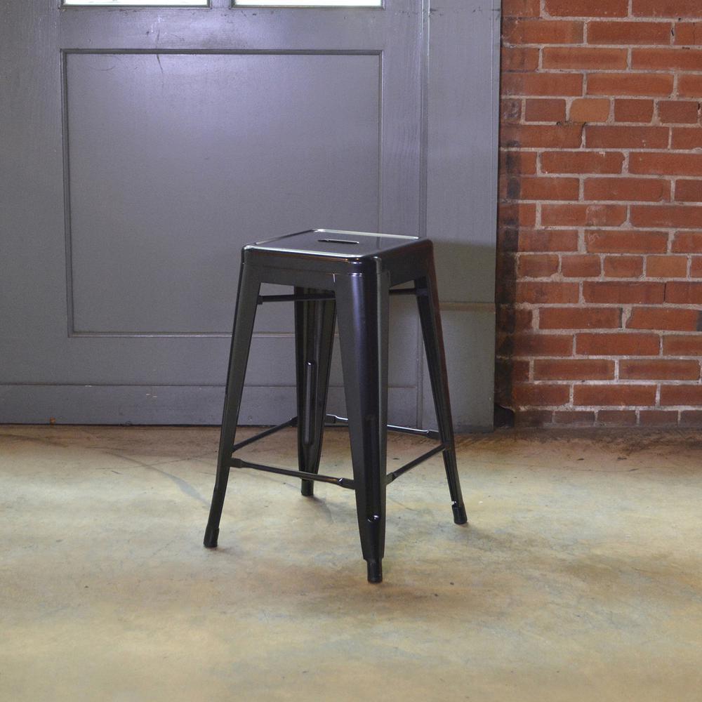 Loft Style 24 in. Black Stackable Metal Bar Stool (Set of 3)