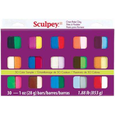 1 oz. Polymer Clay Assorted Colors Sampler (30-Pack)