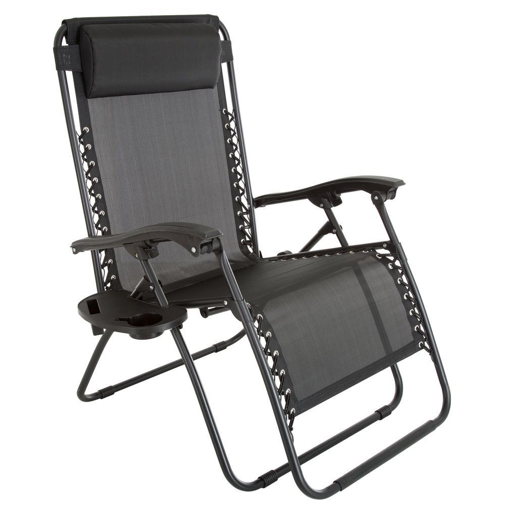 Oversized Zero Gravity Patio Lawn Chair in Black