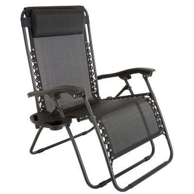 Oversized Zero Gravity Patio Lawn Chair In Black