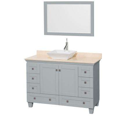 Acclaim 48 in. W x 22 in. D Vanity in Oyster Gray with Marble Vanity Top in Ivory with White Basin and 24 in. Mirror