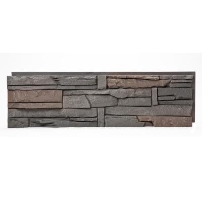 Stacked Stone Coffee 12 in. x 42 in. Faux Stone Siding Panel
