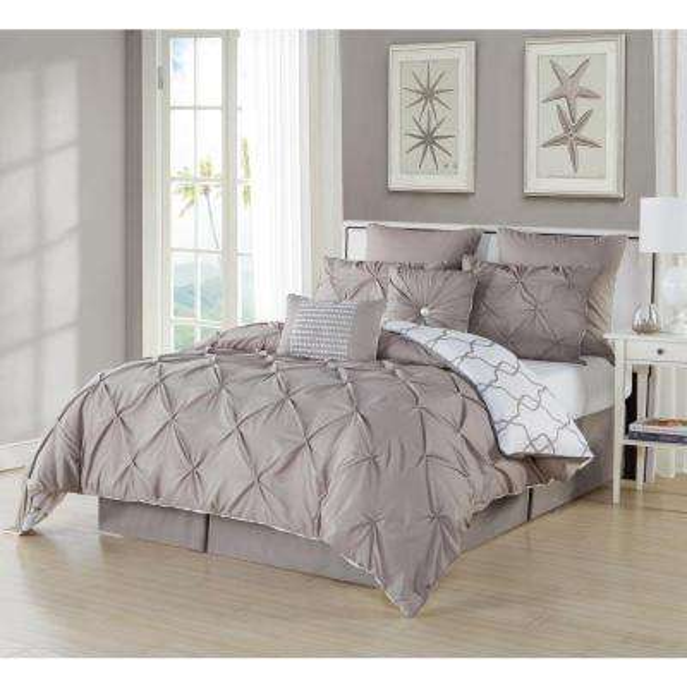 Esy Pintuck Reversible Taupe 8-Piece Queen Comforter Set