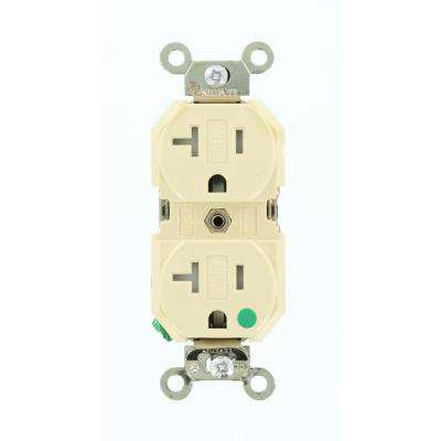 20 Amp Hospital Grade Extra Heavy Duty Tamper Resistant Self Grounding Duplex Outlet, Ivory