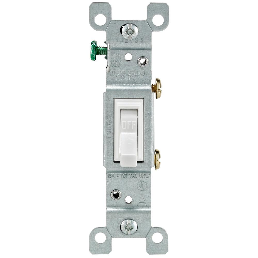 Leviton 15 Amp Single Pole Toggle Light Switch White R52 01451 02w Wiring Ceiling Fan With Two Switches