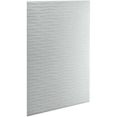 Choreograph 0.3125 in. x 60 in. x 96 in. 1-Piece Shower Wall Panel in Ice Grey with Brick Texture for 96 in. Showers