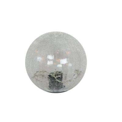 Small White Crackled Glass Ball with LED Lights
