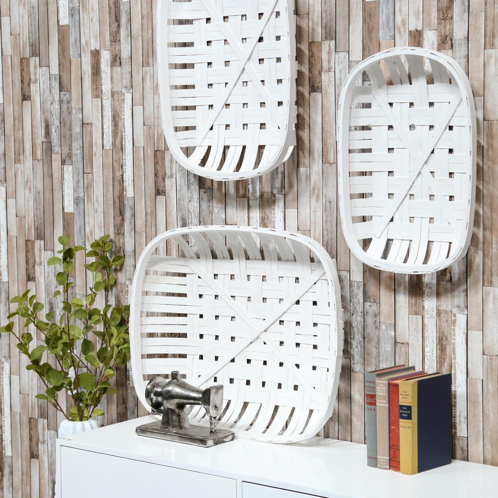 Roundrectangle Wood Painted White Decorative Basket (Set of 3)