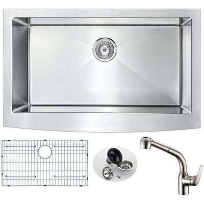 Elysian Farmhouse Stainless Steel 32 in. Single Bowl Kitchen Sink with Faucet in Brushed Nickel