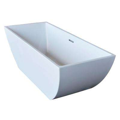 Rook 5.6 ft. Acrylic Center Drain Freestanding Bathtub in Glossy White