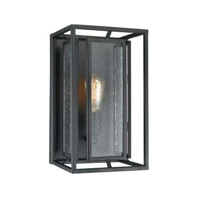 Eastgate 1-Light Textured Black with Seedy Glass Sconce