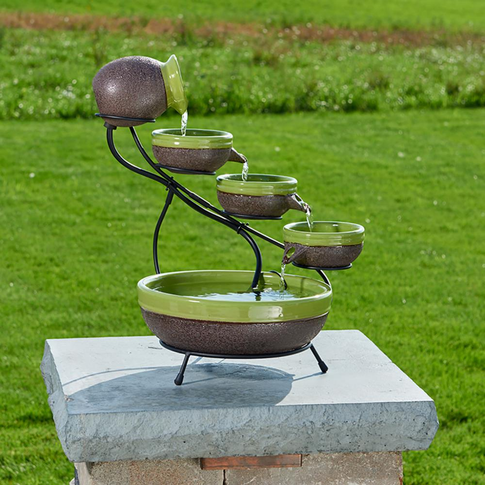 Ceramic Solar Cascade Fountain With Kiwi And Rustic Brown Finish