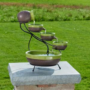 Smart Solar Ceramic Solar Cascade Fountain with Kiwi and Rustic Brown Finish by Smart Solar
