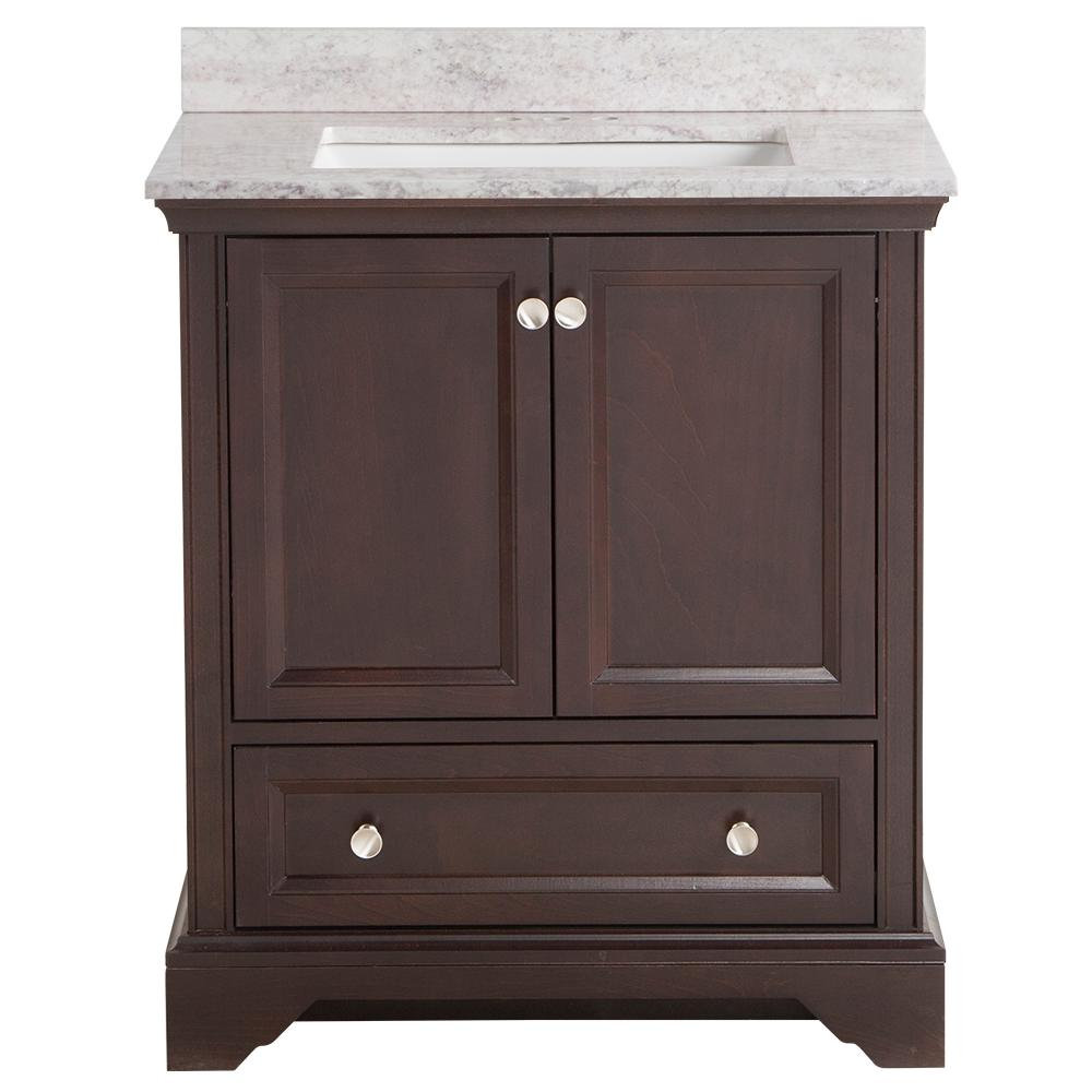 Home Decorators Collection Stratfield 31 in. W x 22 in. D Bath Vanity in Chocolate with Stone Effect Vanity Top in Winter Mist with White Sink