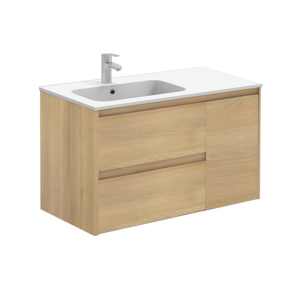 Ambra 35.6 in. W x 18.1 in. D x 22.3 in. H Bathroom Vanity Unit in Nordic Oak with Vanity Top and Basin in White