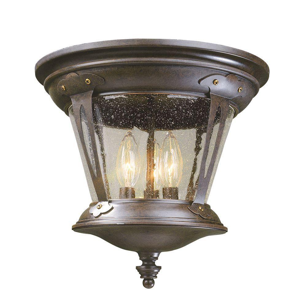 World Imports North Hampton 3-Light Outdoor Old Bronze Flushmount Light