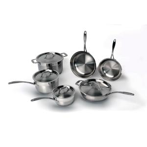 EarthChef Professional 10-Piece 18/10 Stainless Steel Cookware Set with Lids