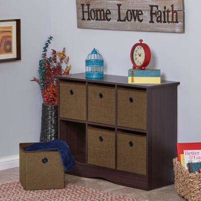 6-Cubby Storage Cabinet with Bins in Espresso/Brown