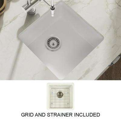 Yorkshire Bar Undermount Fireclay 17 in. Single Bowl Kitchen Sink with Grid and Strainer in White