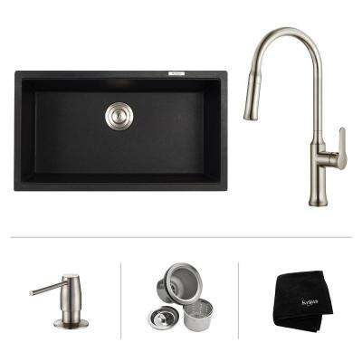 All-in-One Undermount Granite Composite 32 in. Single Bowl Kitchen Sink with Faucet and Pop Up Drain in Stainless Steel