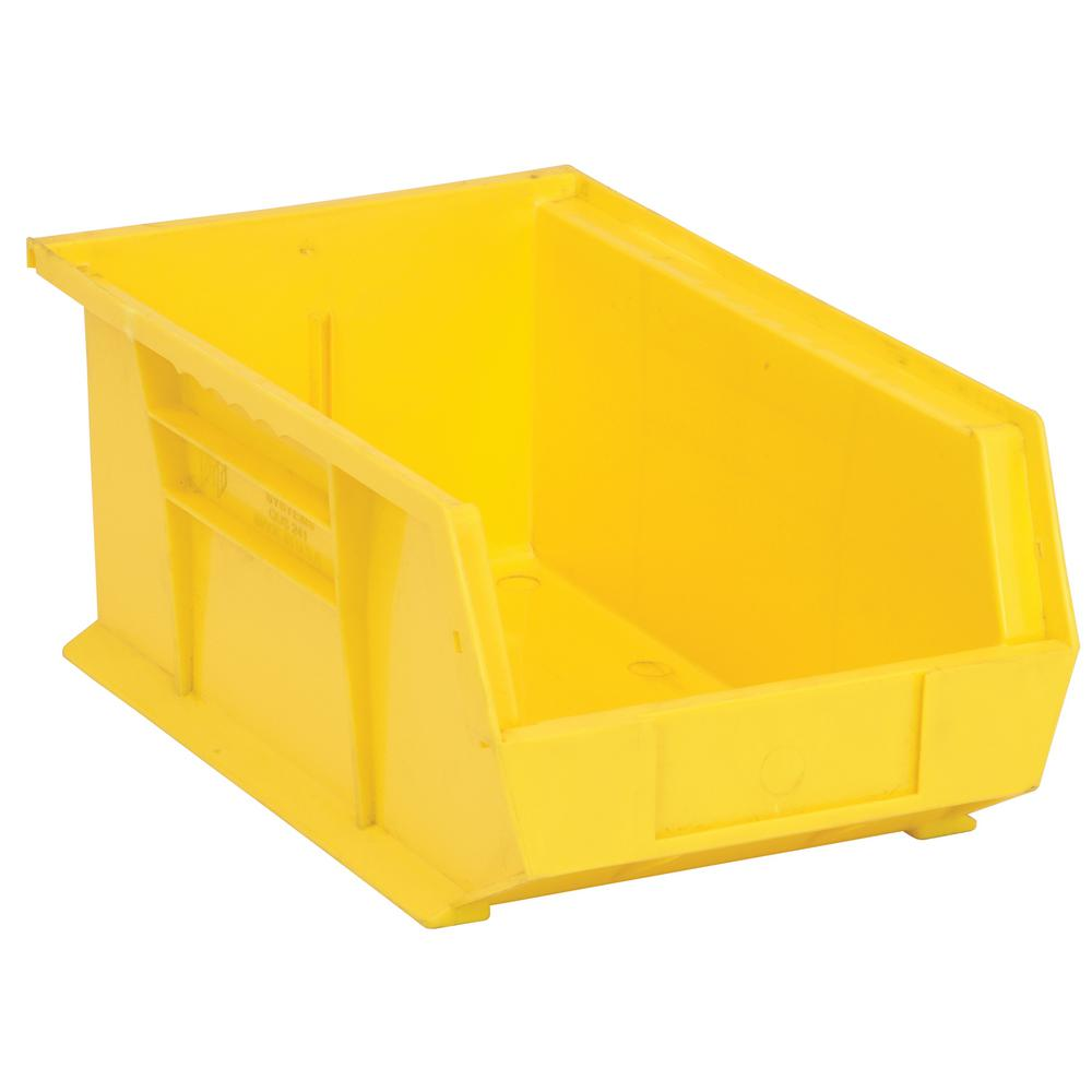 Quantum Storage Systems 7.5 Gal. Ultra-Series Stack and Hang Storage Bin, Yellow (12-Pack)