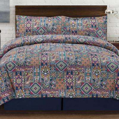 Tao Jewel tones 4 Piece Multi-colored Queen Comforter Set
