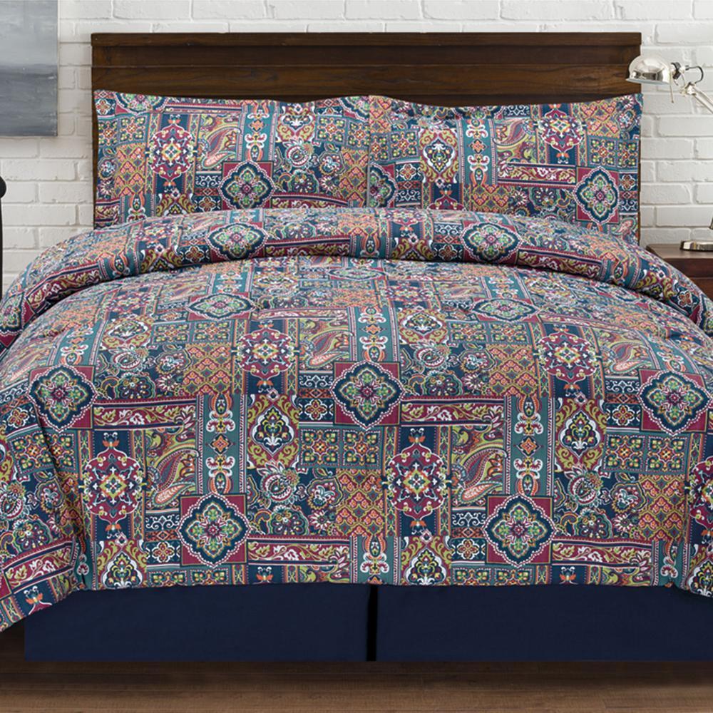 Tao Jewel tones 4 Piece Multi-colored Queen Comforter Set