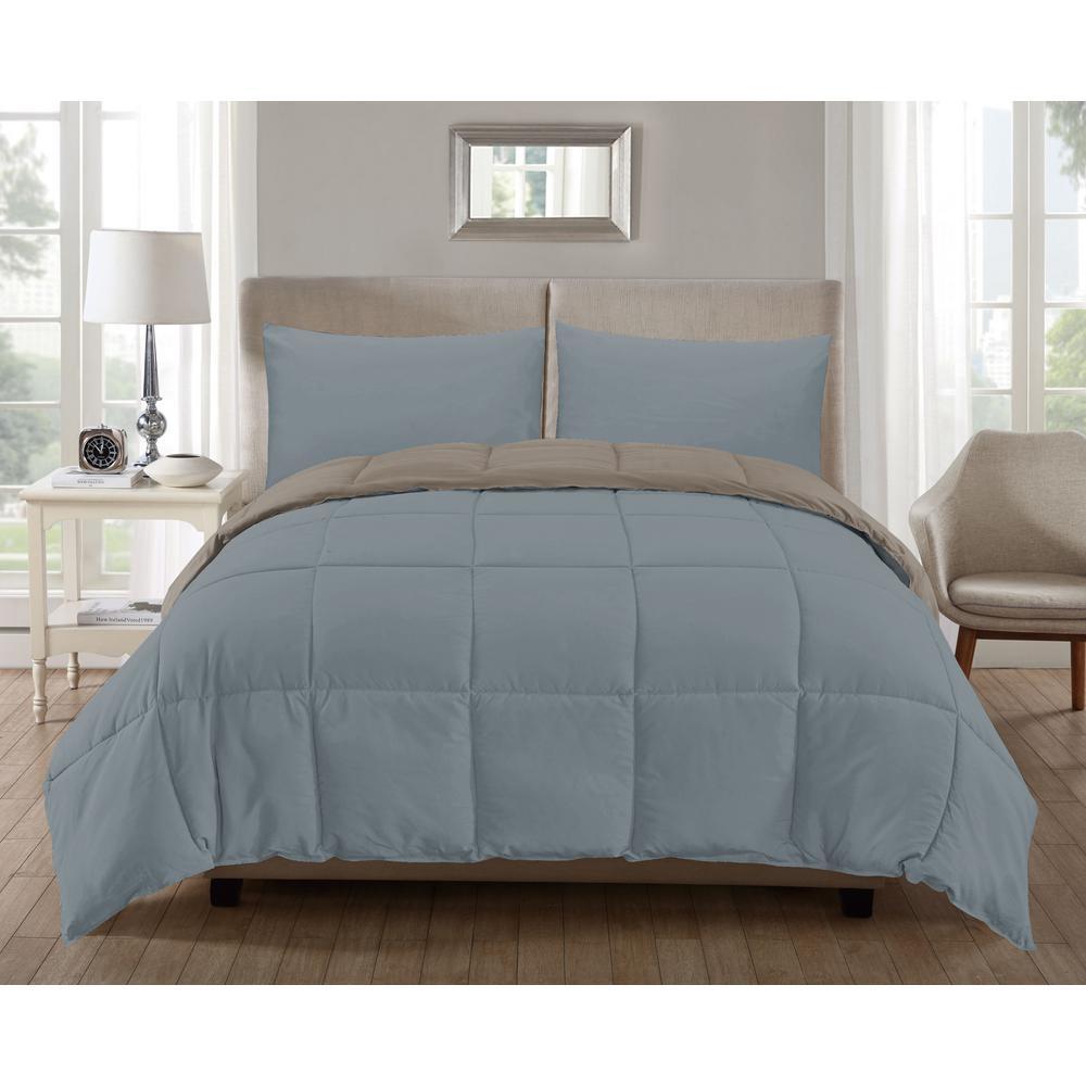 Jackson 3-Piece Cream-Dusty-Blue Full Comforter Set