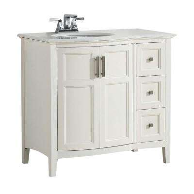Wilshire 36 in. Bath Vanity in Pure White with Engineered Quartz Marble Vanity Top in Bombay White with White Basin