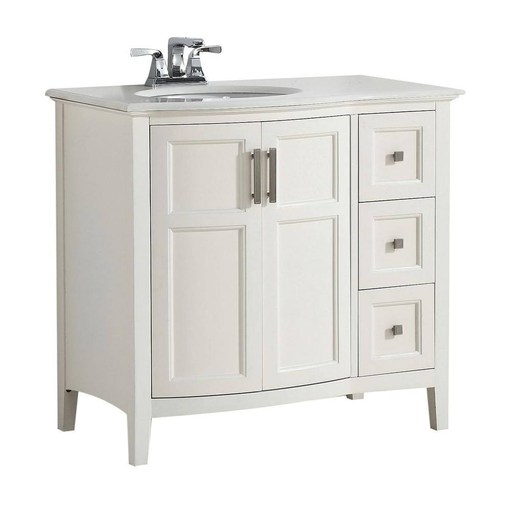 Simpli Home Winston Rounded Front 36 in. Bath Vanity in Soft White with Quartz Marble Vanity Top in Bombay White with White Basin
