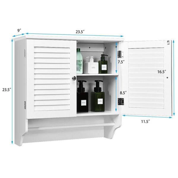 Casainc 23 5 In W Wall Mounted Bathroom Wall Cabinet With Towel Bar And Shelf Storage Rack In White Wf Hw61675 The Home Depot