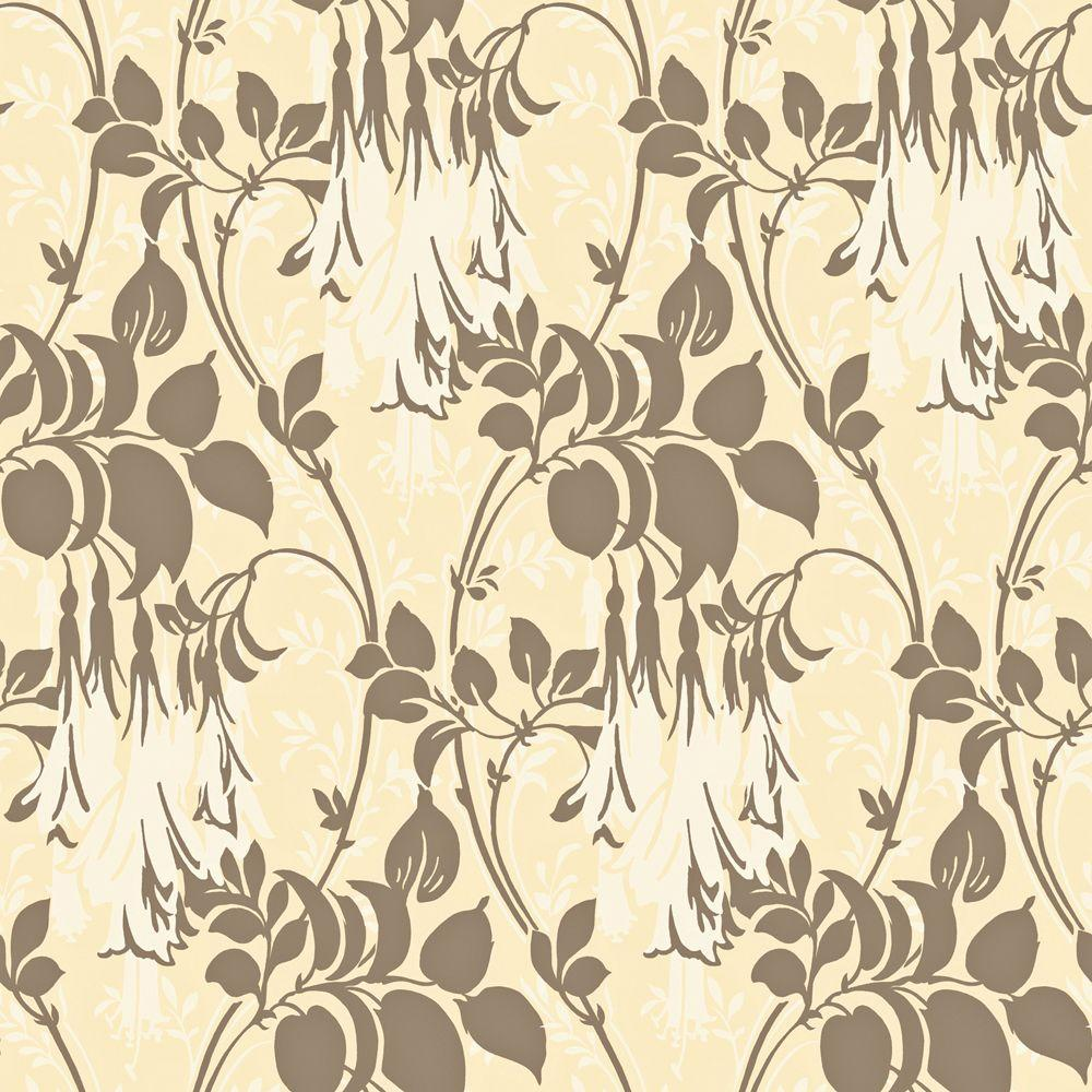 The Wallpaper Company 8 in. x 10 in. Mocha Large Floral Trail Wallpaper Sample