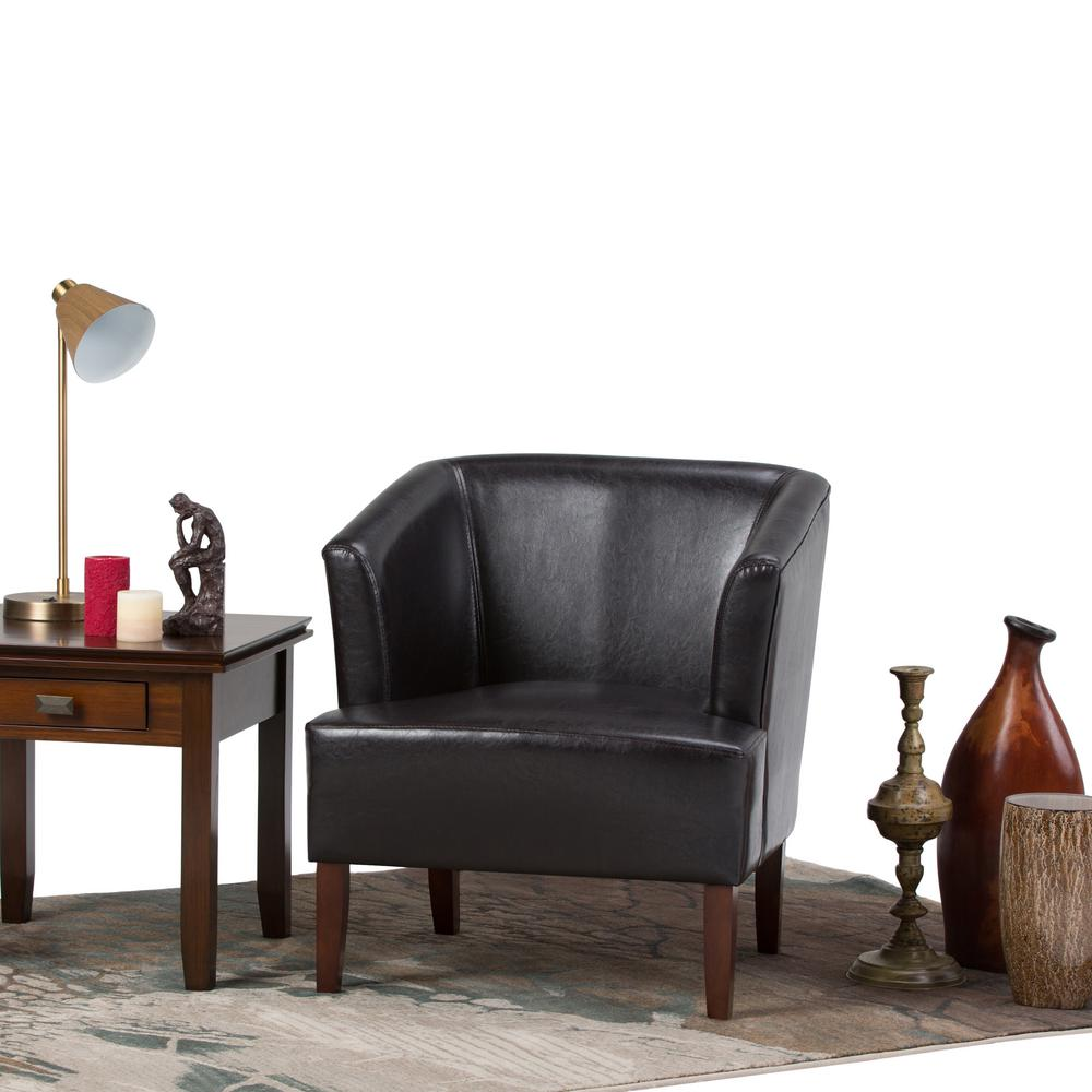 Simply Home Longford Dark Brown Bonded Leather Arm Chair
